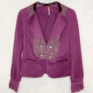 Free People Lace Velvet Trim Victorian Blazer